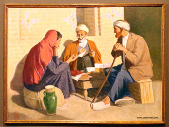 تصاویری از تابلوهای نمایشگاه آثار هنری اساتید صاحب نام و چهرههای ماندگار با عنوان در قاب تجلی در فرهنگسرای نیاوران، تیرماه 1396