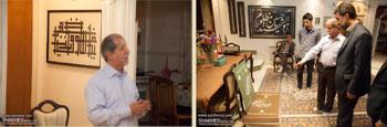 دیدار مدیرکل ارشاد قزوین دکتر مهدی احمدی با استاد علی اکبر پگاه خوشنویس و شاعر برجسته کشور ملقب به سلطان الکتّاب