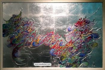 تصویر چند اثر نقاشیخط از آثار جشنواره تخصصى نقاشيخط با عنوان نقش و مشق در نگارخانه ی فرهنگسرای خاوران-تهران-دیماه1395