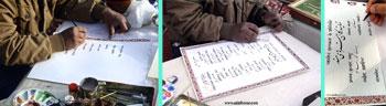 مکتوب کردن داستان ایران و هند توسط هنرمندان خوشنویس و نگارگر ایرانی و هندوستانی و به خط نستعلیق استاد علی خیری حبیب آبادی