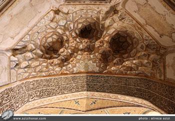 کتیبه های ثلث در محراب واقع در شبستان جنب گنبد مسجد آقا بزرگ کاشان