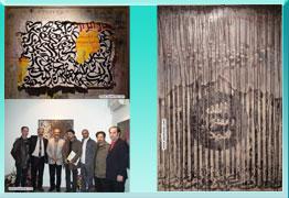 تصاویر مراسم افتتاحیه نمایشگاه آثار خوشنویسی و نقاشیخط هنرمندان ارجمند ، ولی فتاح زاده و محمد فدایی با عنوان خوشنویسان مشغول کارند در گالری ویستا